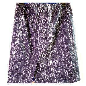Tahari Navy Blue Animal Print Pencil Skirt Sz. 4